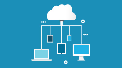 Graphic of cloud with various electronic devices connected by white lines.
